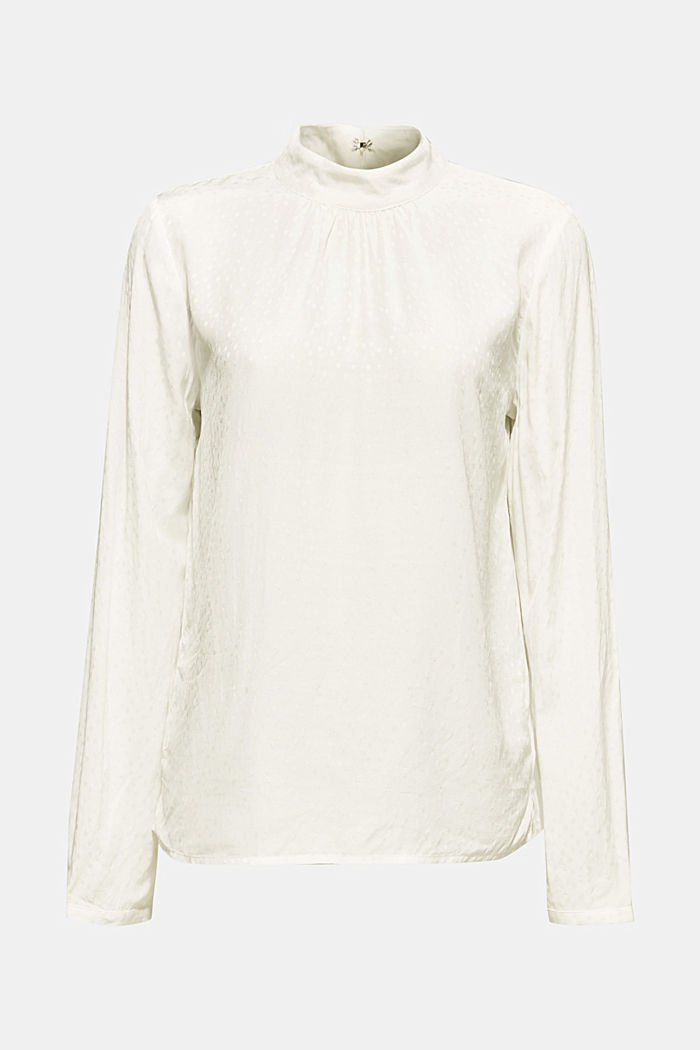 Jacquard blouse with a bow at the back, OFF WHITE, detail image number 7