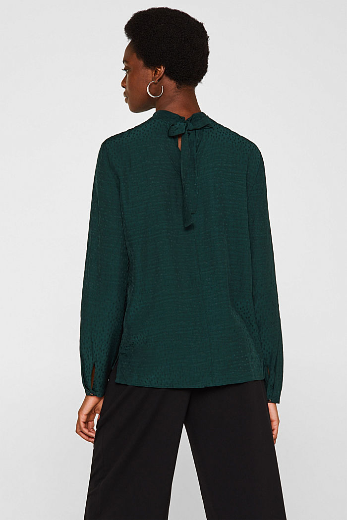 Jacquard blouse with a bow at the back, DARK TEAL GREEN, detail image number 3