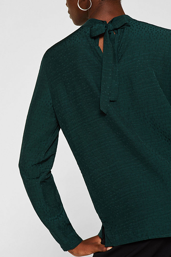 Jacquard blouse with a bow at the back, DARK TEAL GREEN, detail image number 2