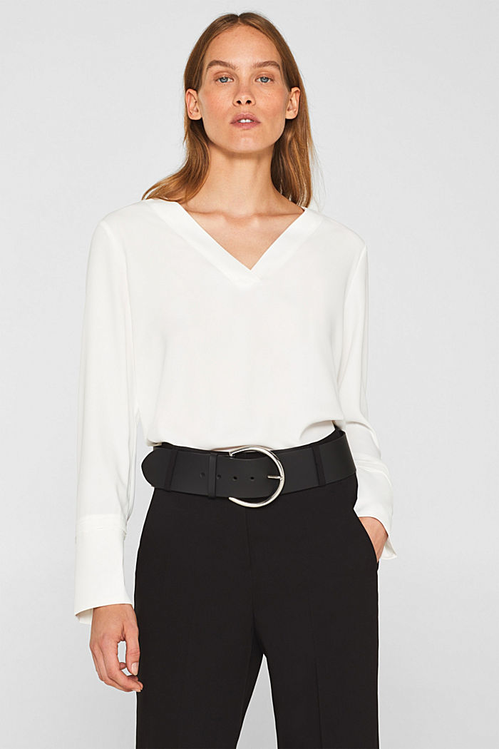 Crêpe blouse with elegant details, OFF WHITE, detail image number 0