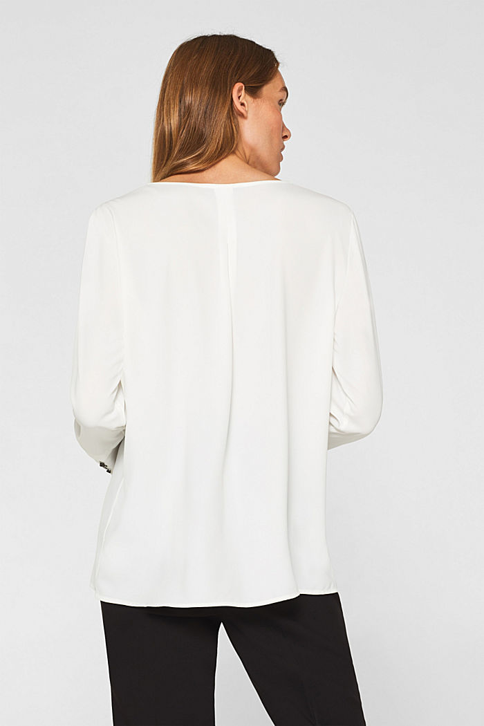 Crêpe blouse with elegant details, OFF WHITE, detail image number 3