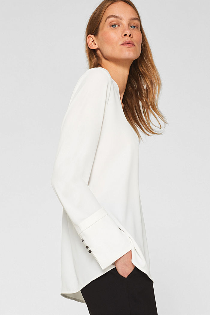 Crêpe blouse with elegant details, OFF WHITE, detail image number 5