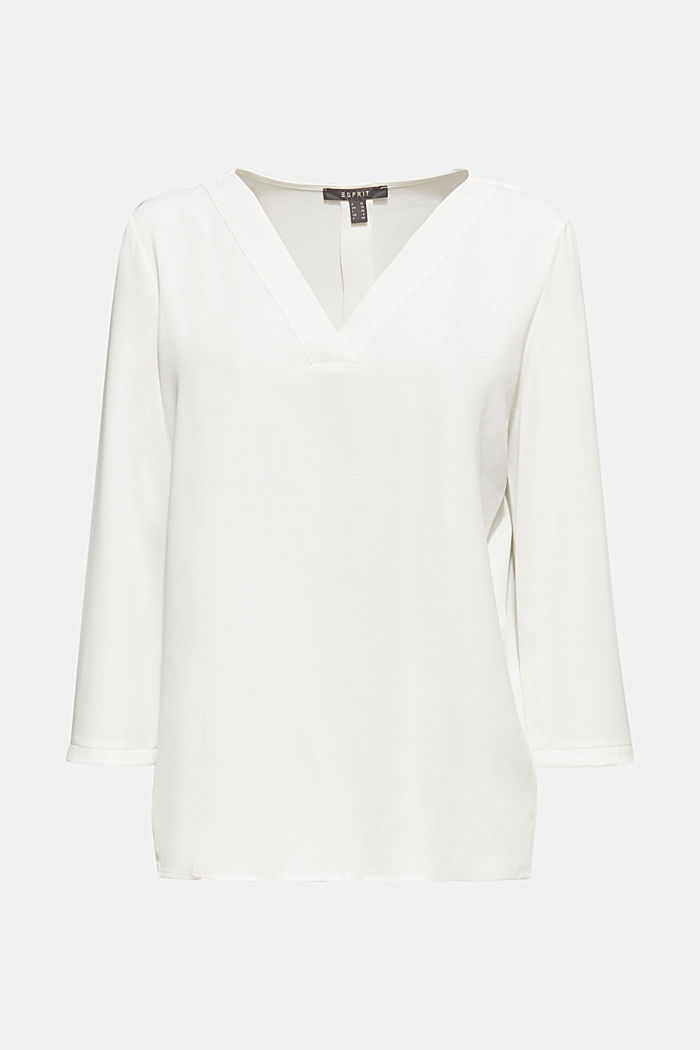 Crêpe blouse with elegant details, OFF WHITE, overview