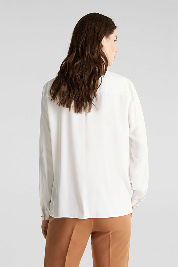 Overhemdblouse met detail bij de kraag, OFF WHITE, detail image number 3