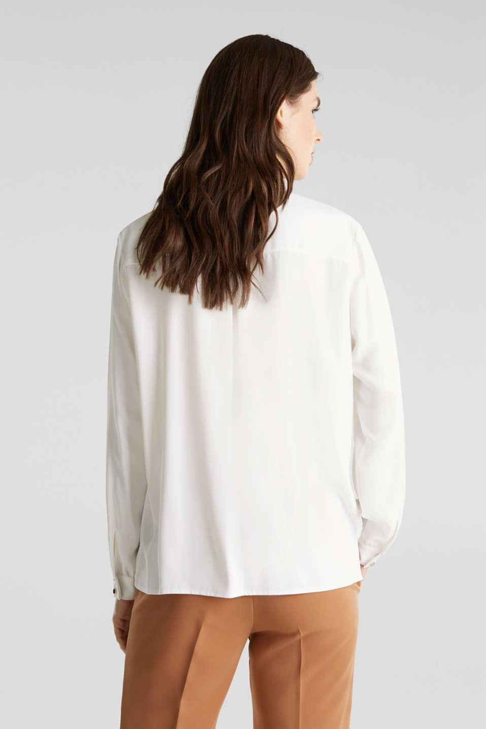 Shirt blouse with a collar detail, OFF WHITE, detail image number 3