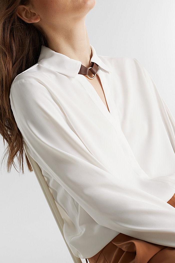 Overhemdblouse met detail bij de kraag, OFF WHITE, detail image number 2