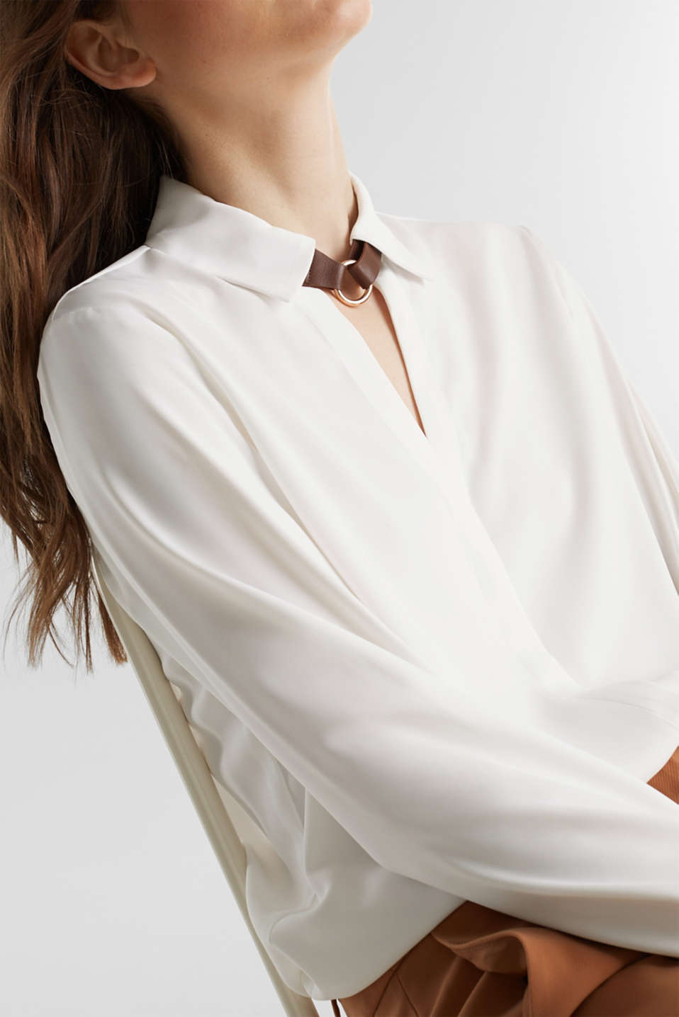Shirt blouse with a collar detail, OFF WHITE, detail image number 2