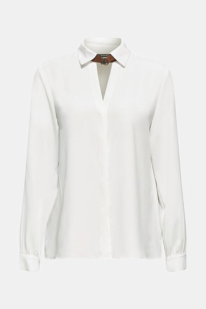 Overhemdblouse met detail bij de kraag, OFF WHITE, detail image number 5