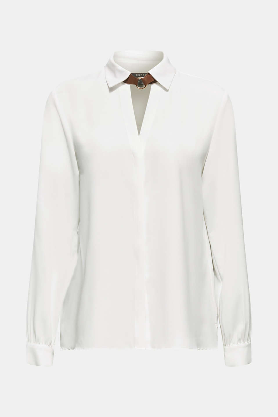 Shirt blouse with a collar detail, OFF WHITE, detail image number 5