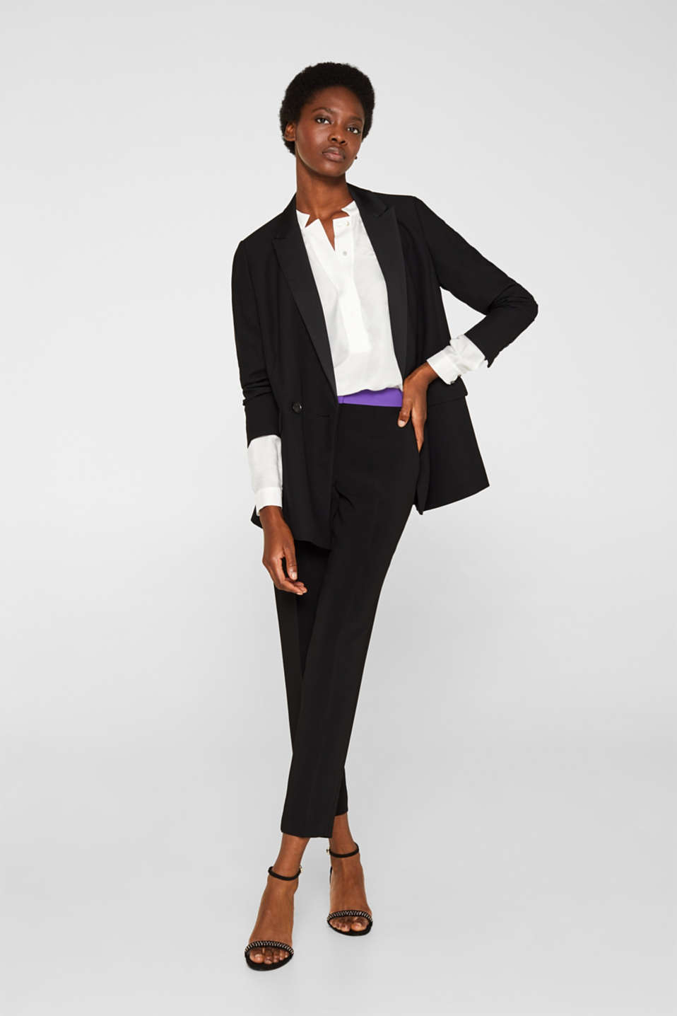 With silk: blouse with a stand-up collar, OFF WHITE, detail image number 1