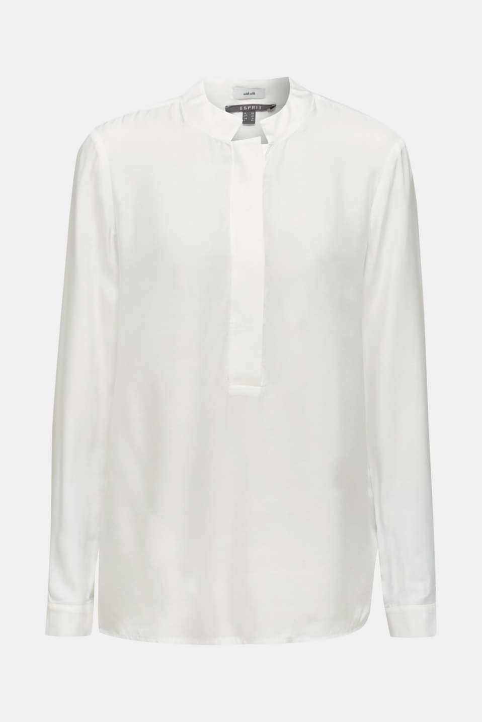 With silk: blouse with a stand-up collar, OFF WHITE, detail image number 5