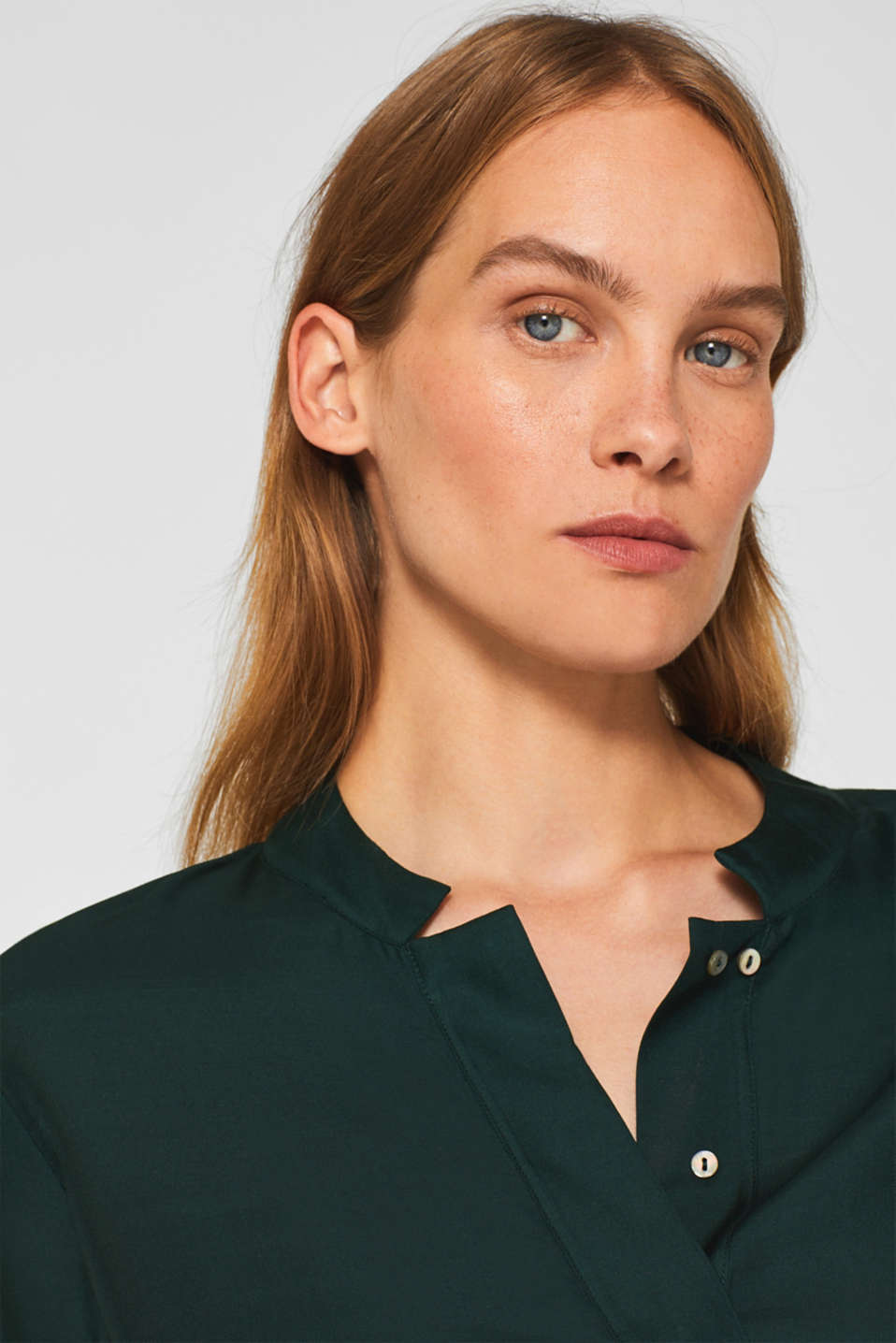 With silk: blouse with a stand-up collar, DARK TEAL GREEN, detail image number 2