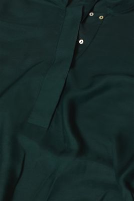 With silk: blouse with a stand-up collar, DARK TEAL GREEN, detail
