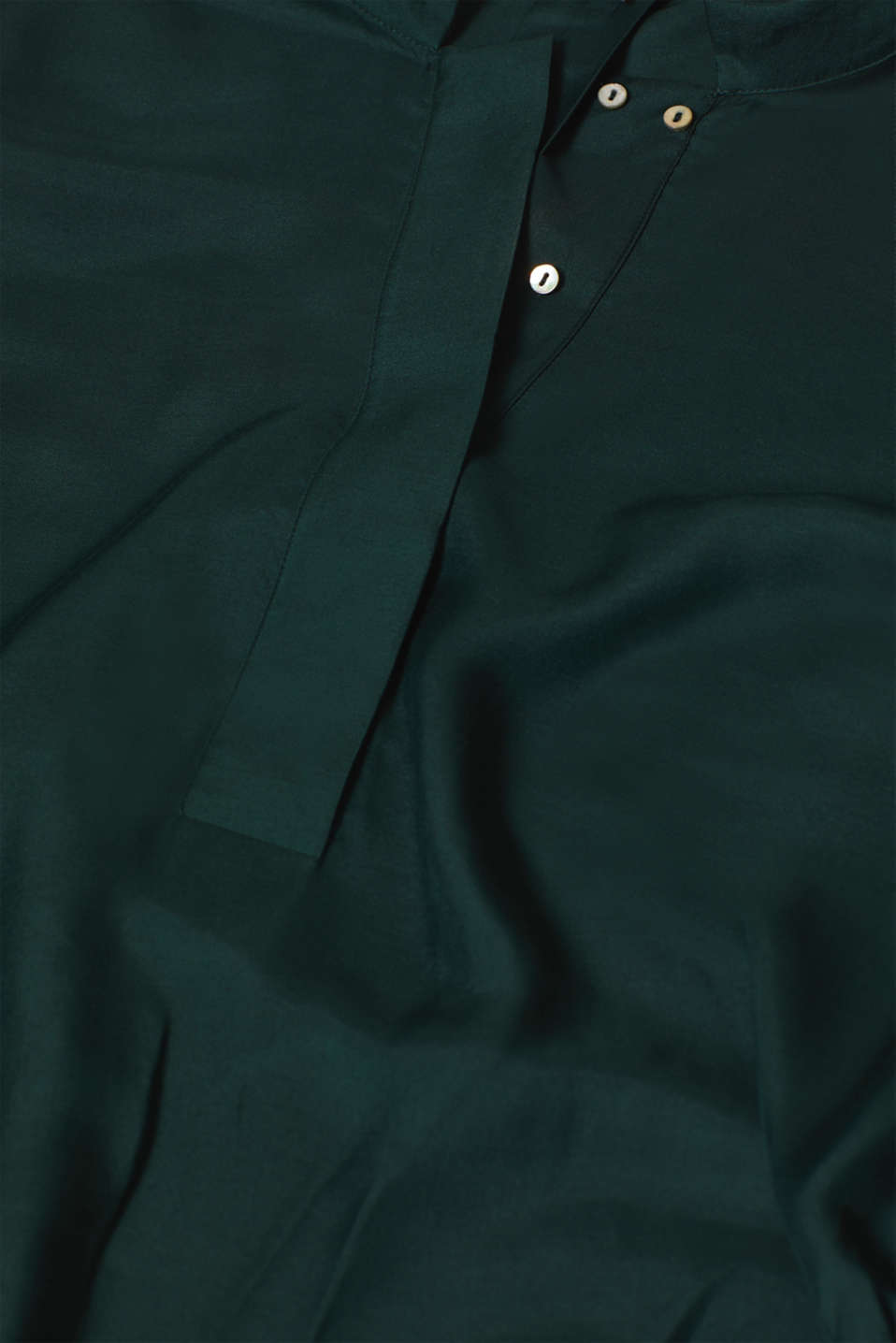 With silk: blouse with a stand-up collar, DARK TEAL GREEN, detail image number 4