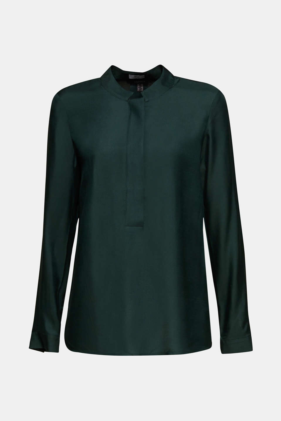With silk: blouse with a stand-up collar, DARK TEAL GREEN, detail image number 5