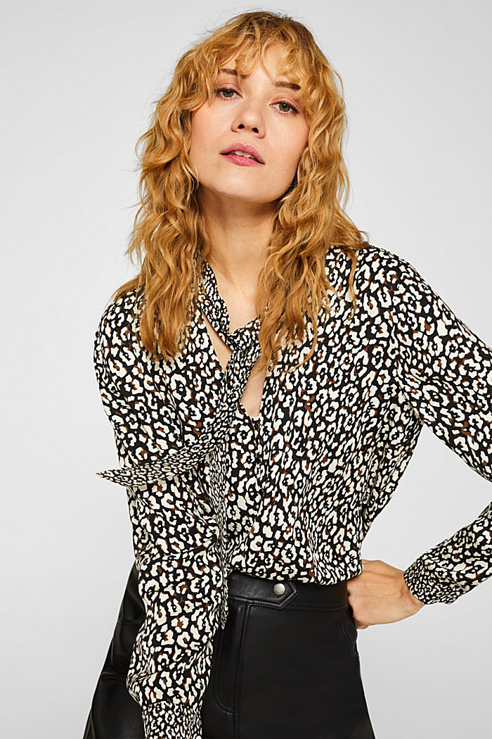 Printed pussycat bow blouse, BLACK, detail image number 0