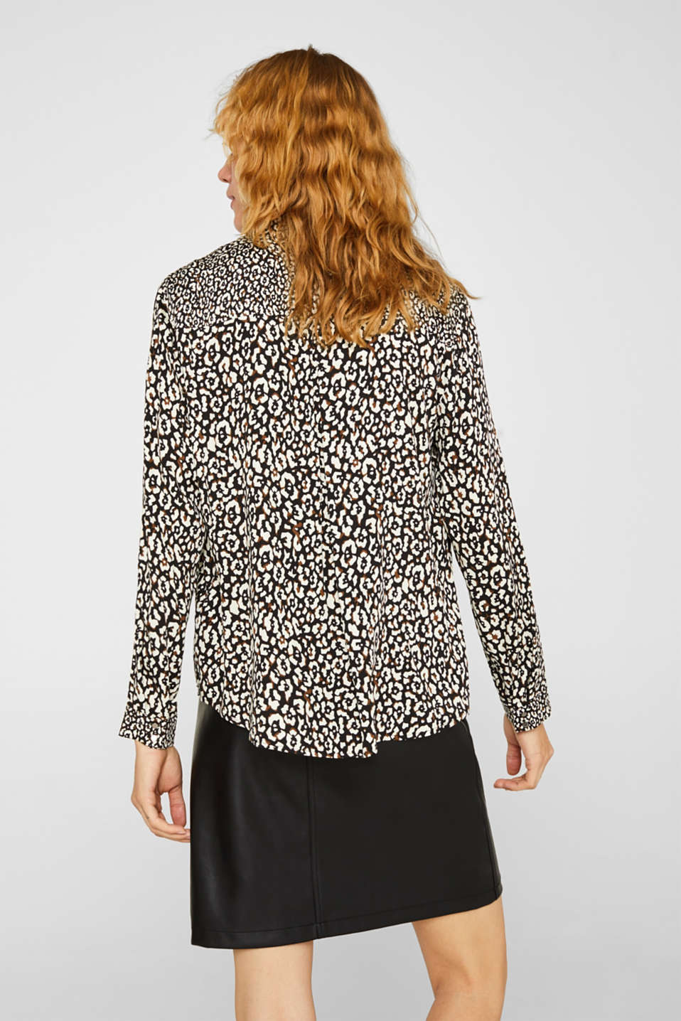 Printed pussycat bow blouse, BLACK, detail image number 3