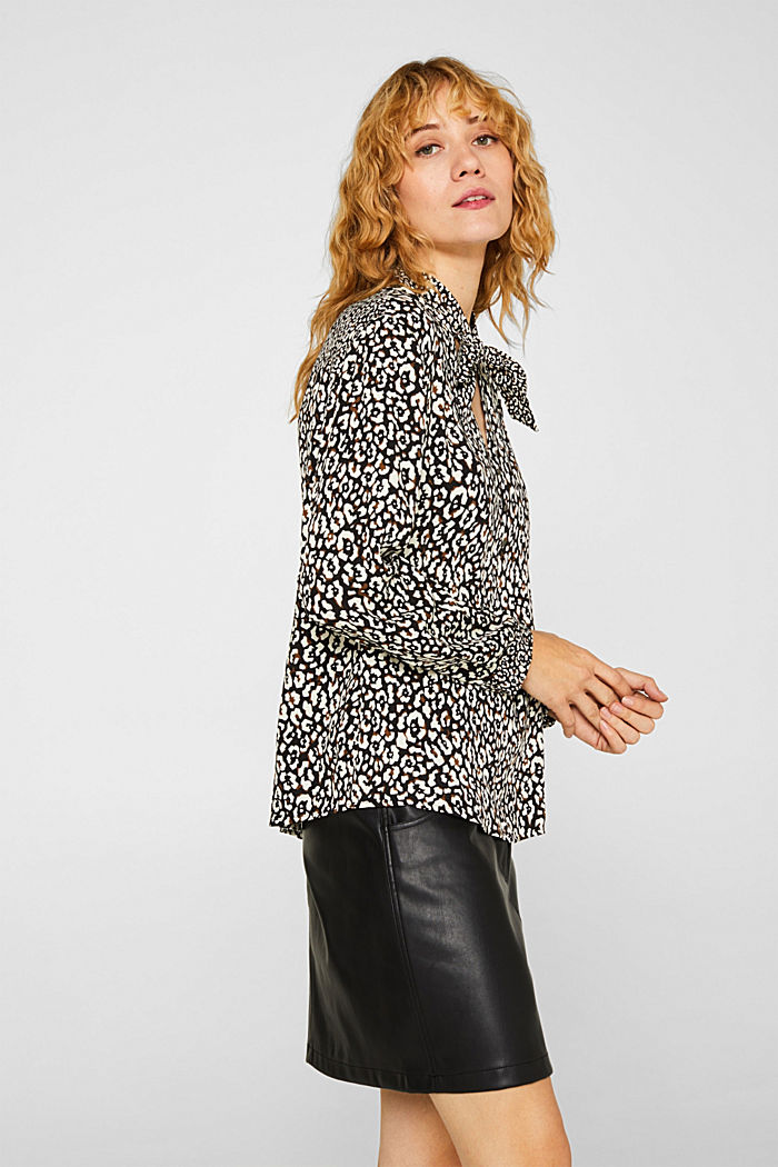 Printed pussycat bow blouse, BLACK, detail image number 5
