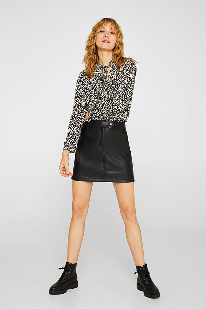 Printed pussycat bow blouse, BLACK, detail image number 1