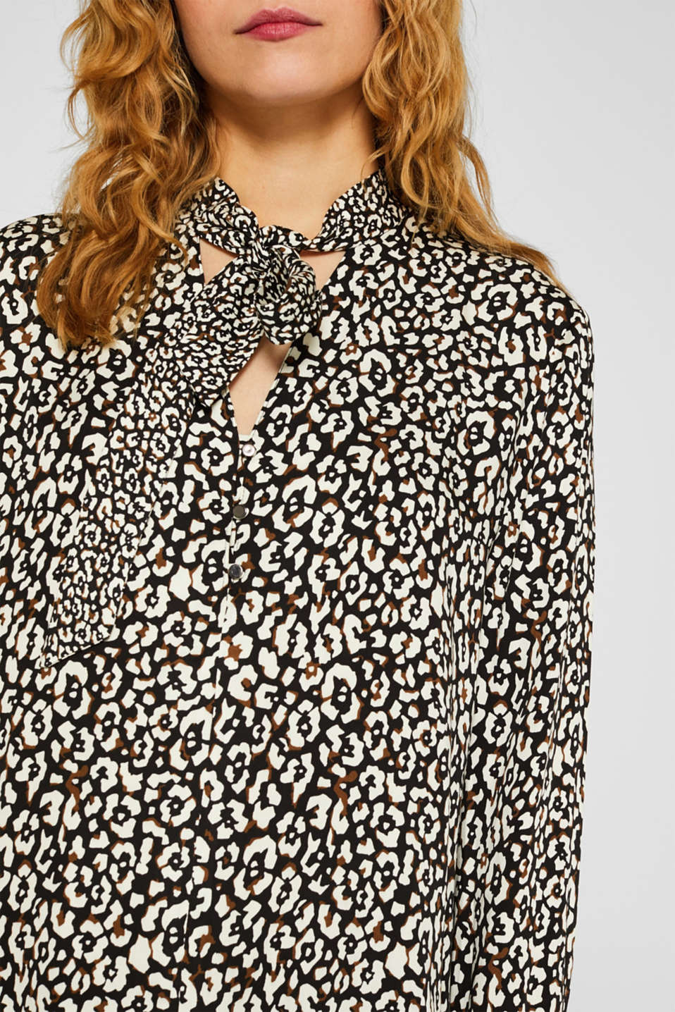Printed pussycat bow blouse, BLACK, detail image number 2
