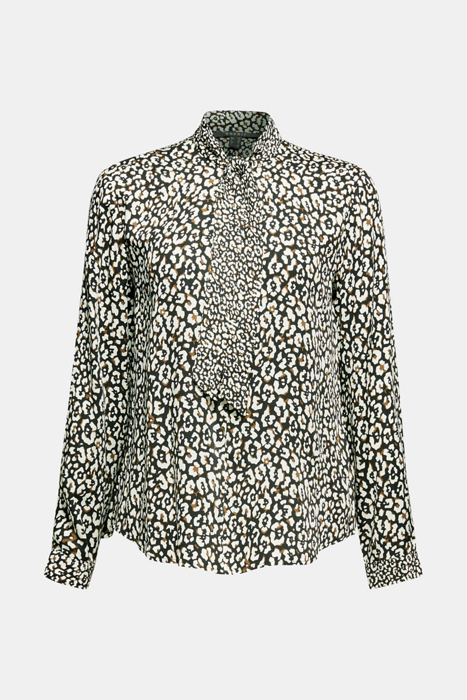 Printed pussycat bow blouse, BLACK, detail image number 7