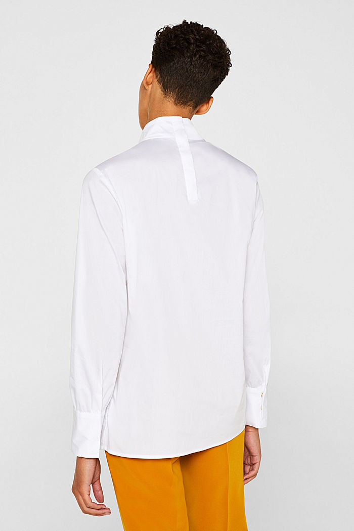Stretch blouse with a stand-up collar, WHITE, detail image number 3