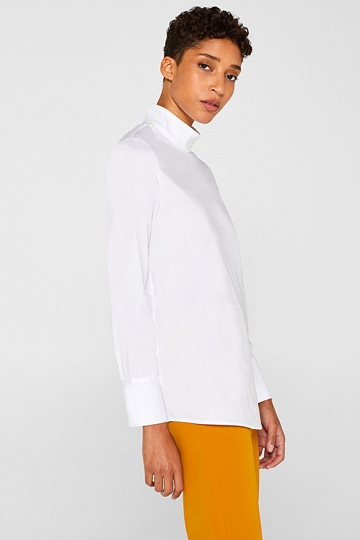 Stretch blouse with a stand-up collar, WHITE, detail image number 5