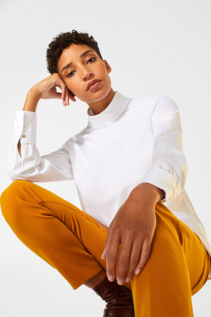 Stretch blouse with a stand-up collar, WHITE, detail image number 6