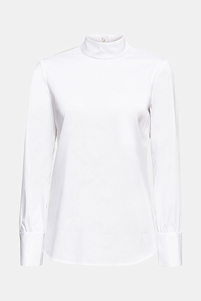 Stretch blouse with a stand-up collar, WHITE, detail image number 0