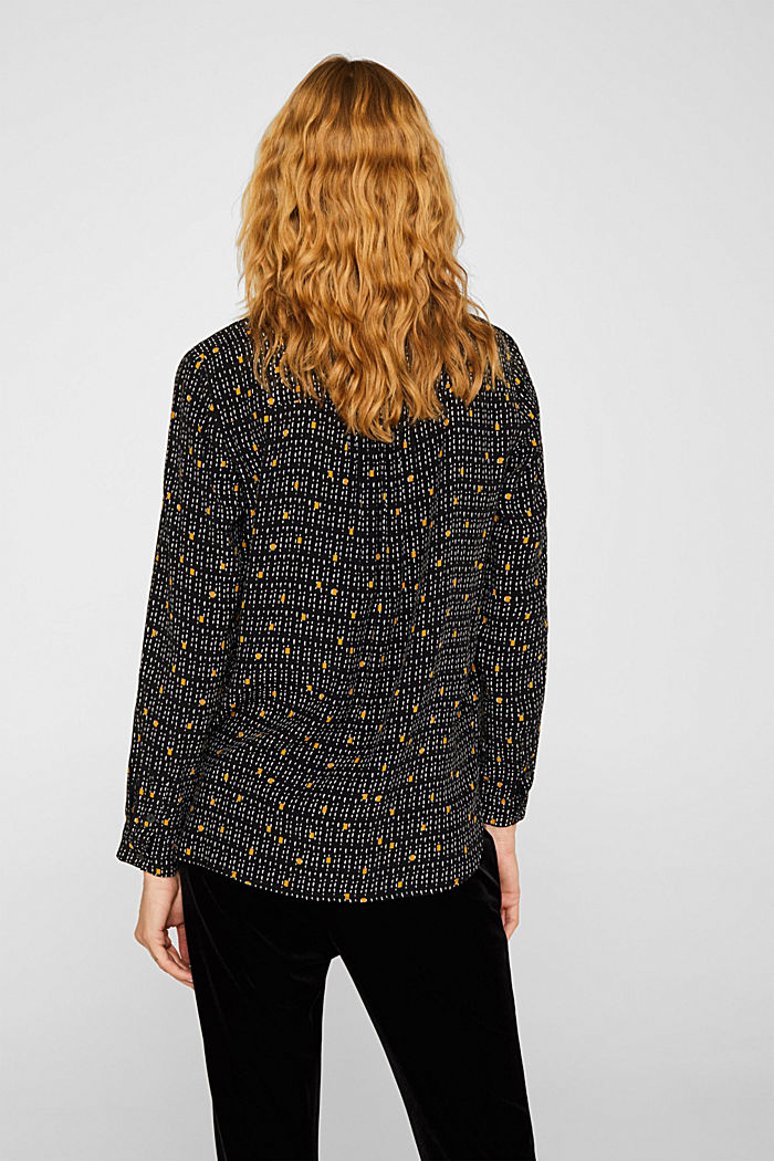 Print blouse with a band collar, BLACK, detail image number 3