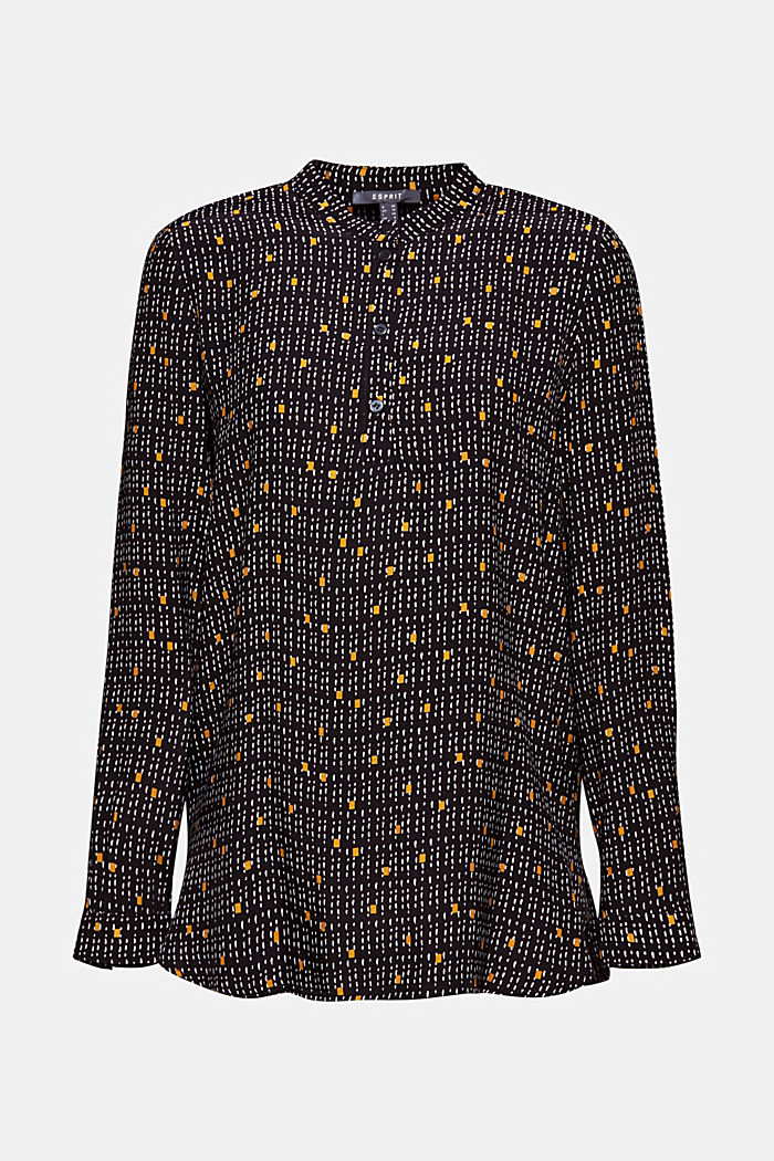 Print blouse with a band collar, BLACK, detail image number 5