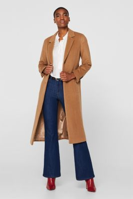Made of blended wool: blazer coat containing cashmere, CAMEL, detail