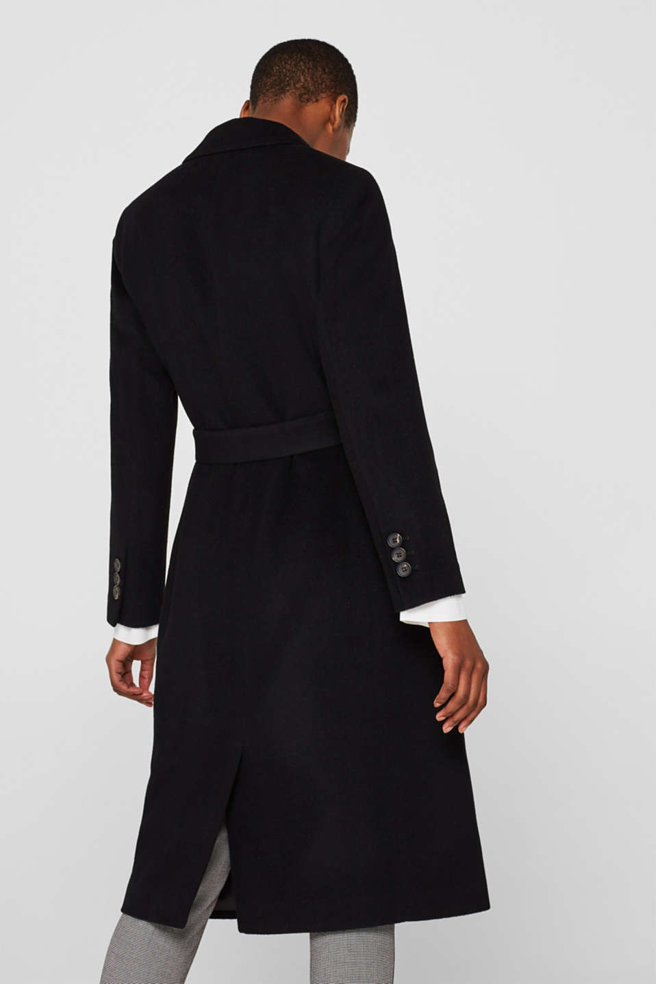 Made of blended wool with cashmere: coat with tie-around belt, BLACK, detail image number 3