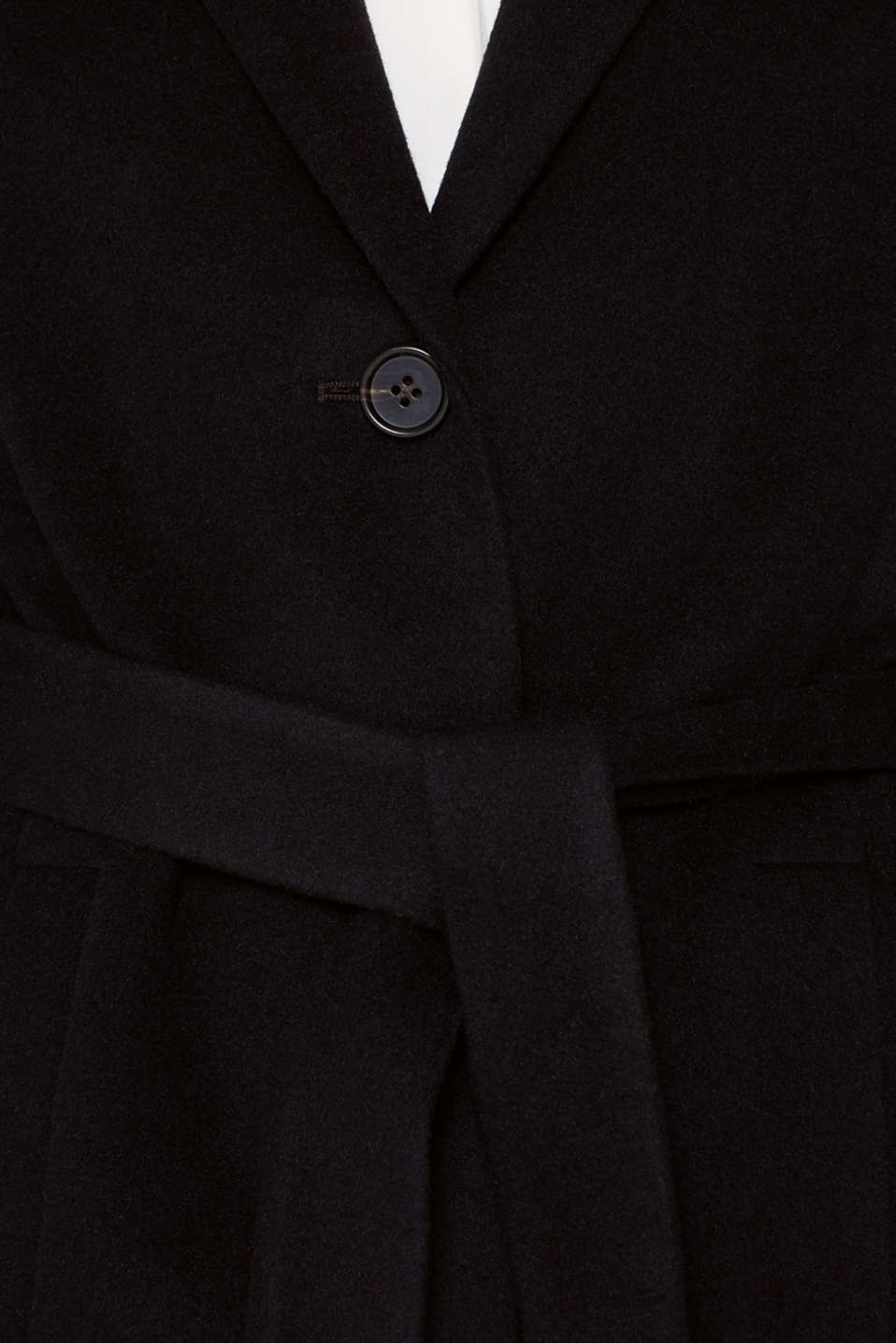 Made of blended wool with cashmere: coat with tie-around belt, BLACK, detail image number 2