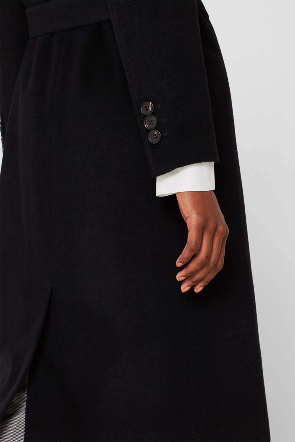 Made of blended wool with cashmere: coat with tie-around belt, BLACK, detail image number 6