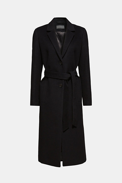 Made of blended wool with cashmere: coat with tie-around belt