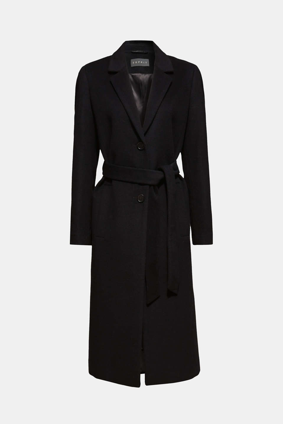 Made of blended wool with cashmere: coat with tie-around belt, BLACK, detail image number 8