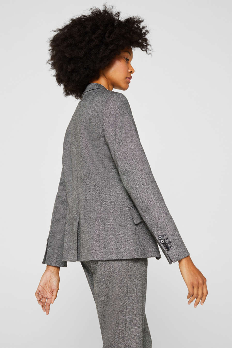 Wool blend: stretch blazer with a herringbone pattern, BLACK, detail image number 3