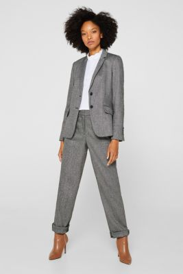 Wool blend: stretch blazer with a herringbone pattern, BLACK, detail
