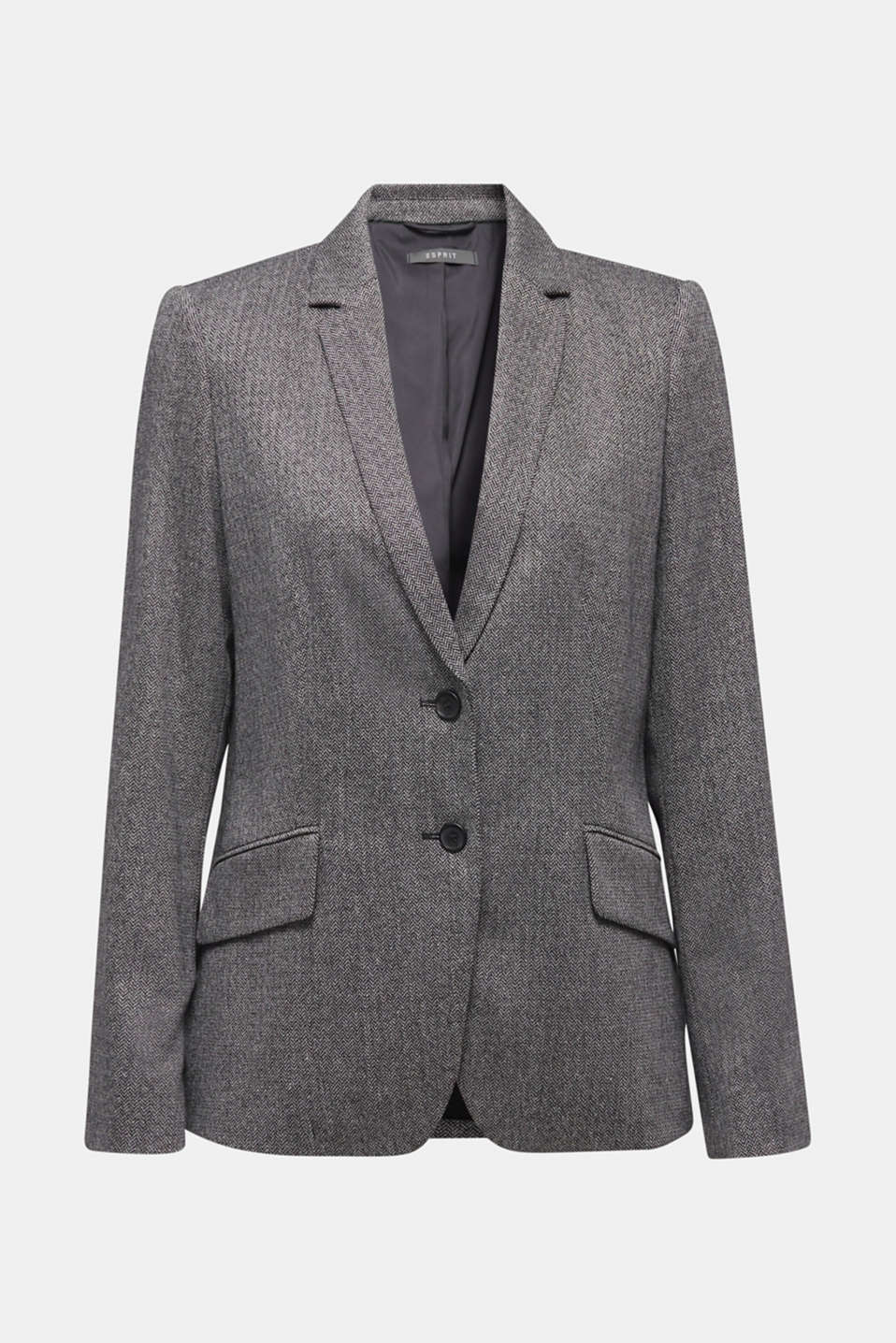 Wool blend: stretch blazer with a herringbone pattern, BLACK, detail image number 6
