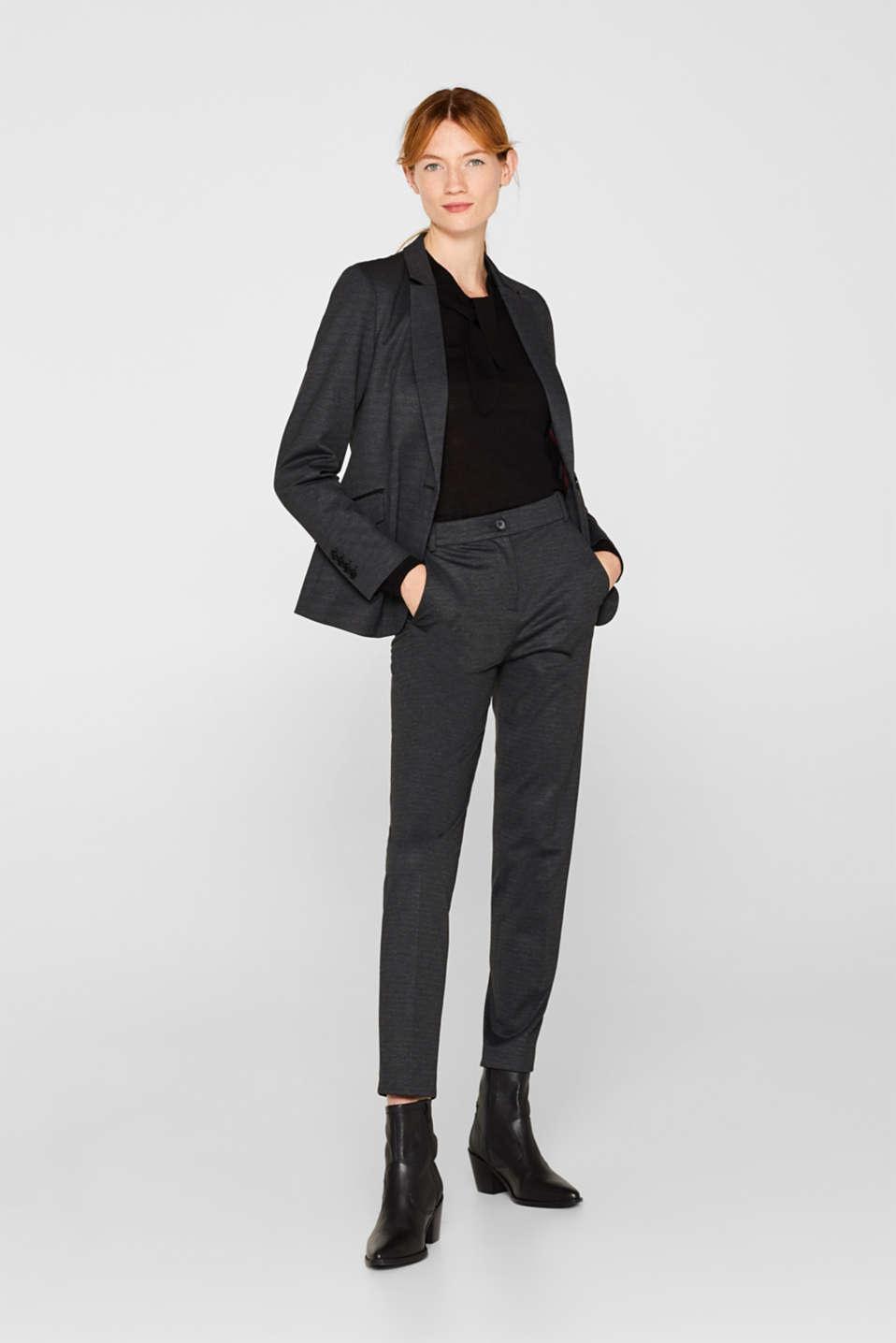 MINI CHECK mix + match stretch blazer, ANTHRACITE, detail image number 1