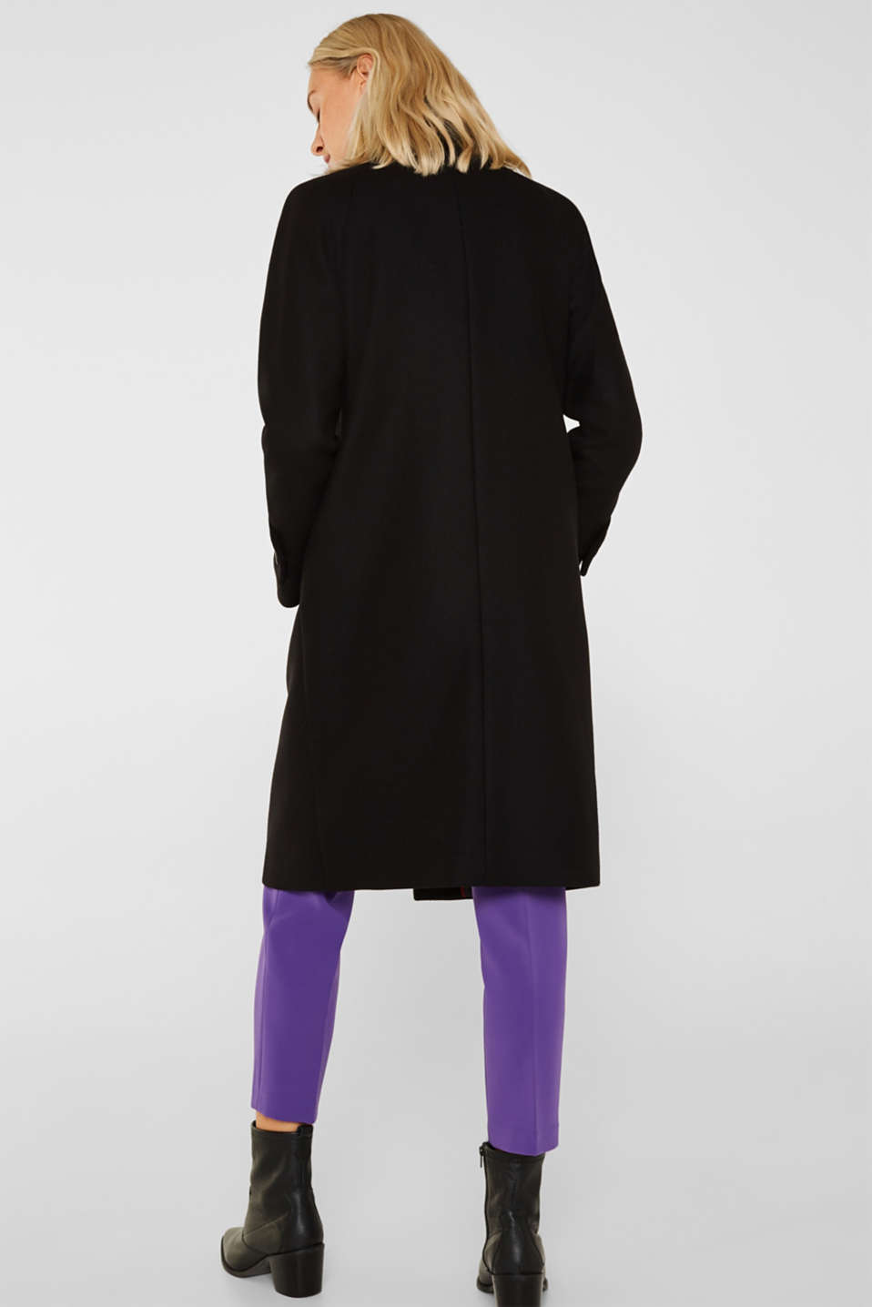 Made of blended wool: Coat with a stand-up collar, BLACK, detail image number 3