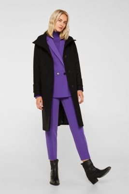 Made of blended wool: Coat with a stand-up collar, BLACK, detail