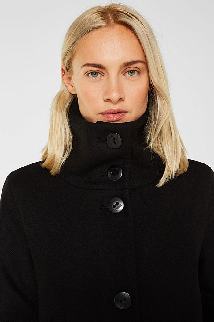 Made of blended wool: Coat with a stand-up collar, BLACK, detail image number 6