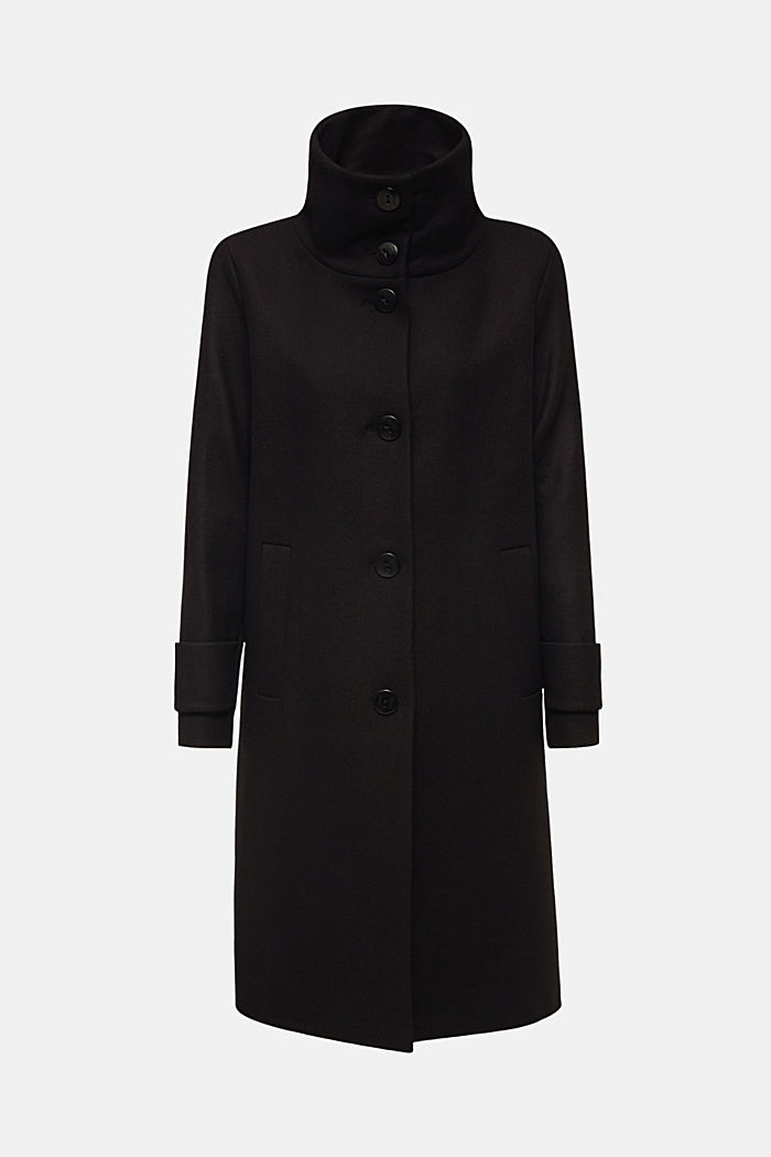 Made of blended wool: Coat with a stand-up collar, BLACK, detail image number 7