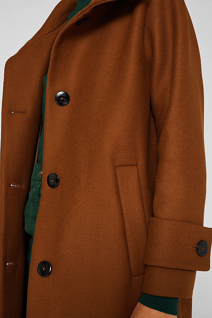 Aus Woll-Mix: Mantel mit Stehkragen, TOFFEE, detail image number 2