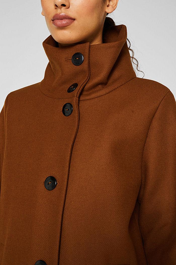 Aus Woll-Mix: Mantel mit Stehkragen, TOFFEE, detail image number 5