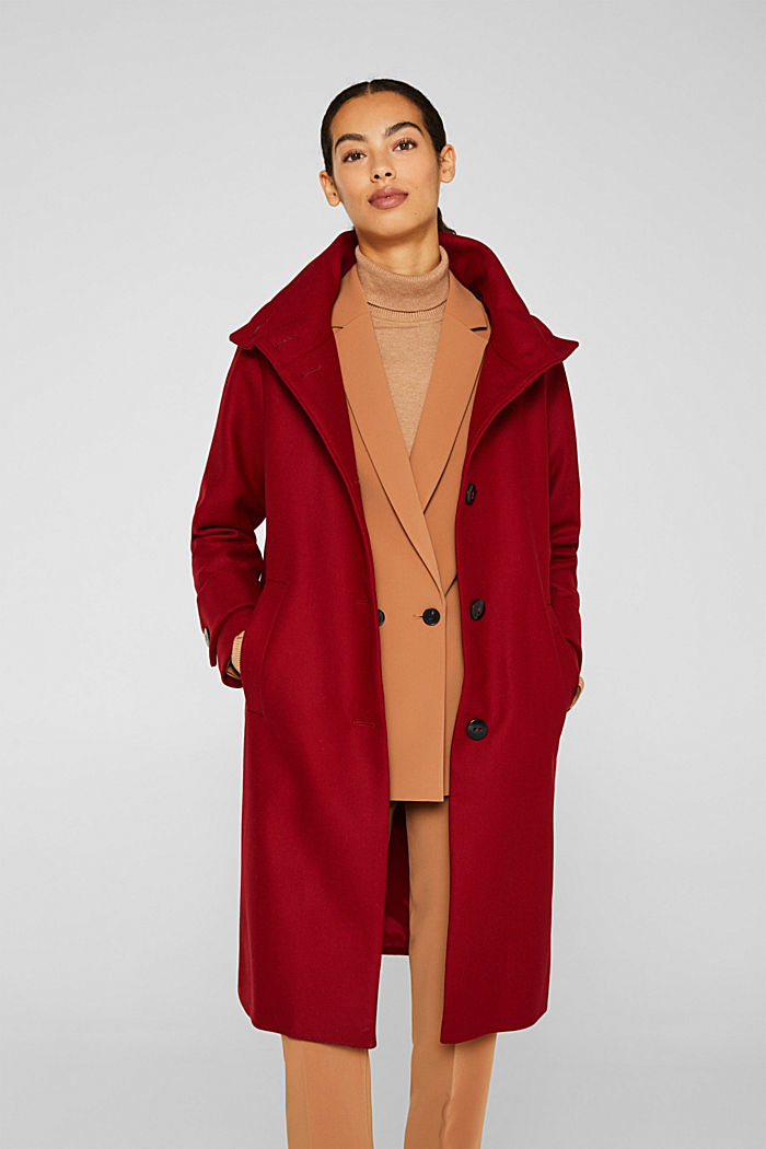 Made of blended wool: Coat with a stand-up collar, DARK RED, detail image number 0