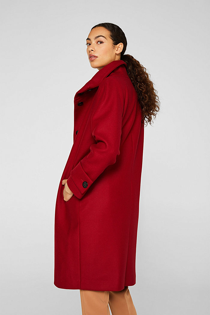 Made of blended wool: Coat with a stand-up collar, DARK RED, detail image number 3