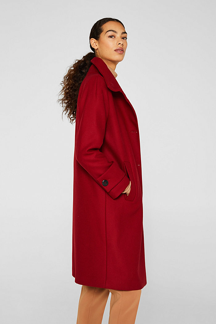 Made of blended wool: Coat with a stand-up collar, DARK RED, detail image number 5